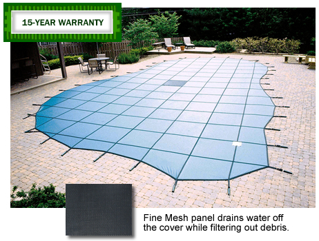 Blue Wave Blue 18x36 Solid Safety Cover With Center End Steps